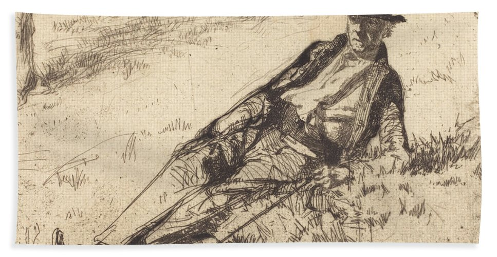Beach Towel featuring the drawing Greenwich Pensioner by James Mcneill Whistler