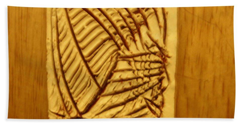 Jesus Beach Towel featuring the ceramic art Grit - Tile by Gloria Ssali