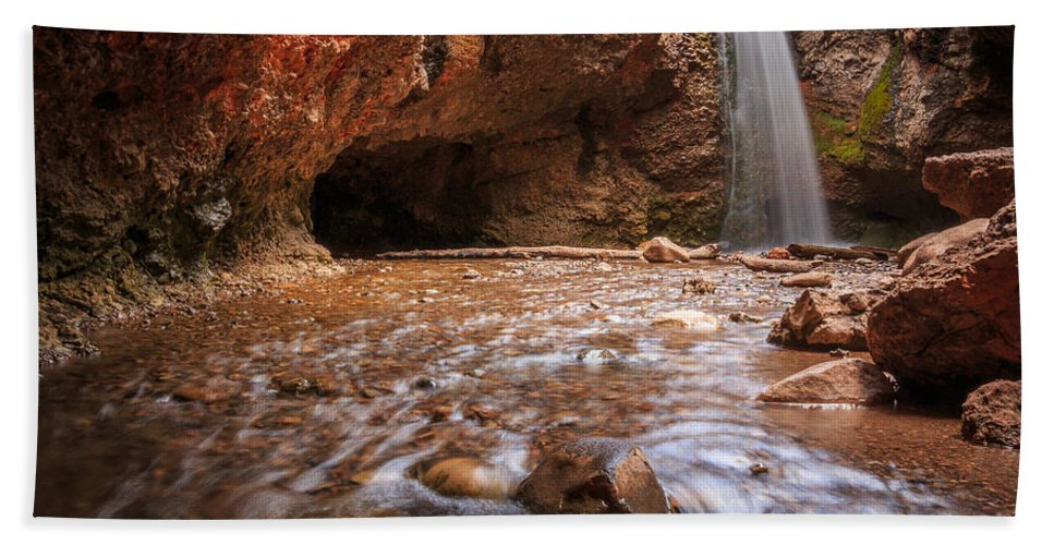 Trailsxposed Beach Towel featuring the photograph Grotto Falls by Gina Herbert