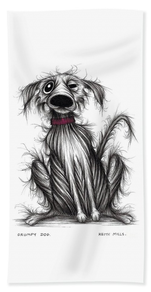 Grumpy Dog Beach Towel featuring the drawing Grumpy Dog by Keith Mills