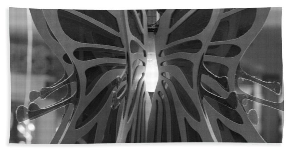 Black And White Beach Towel featuring the photograph Hanging Butterfly by Rob Hans