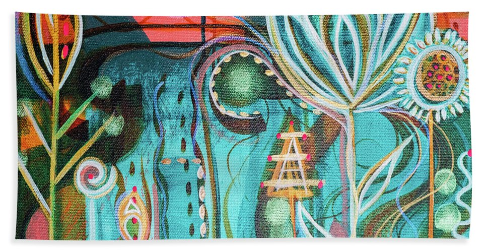 Intuitive Art Beach Sheet featuring the painting Happy by Angel Fritz