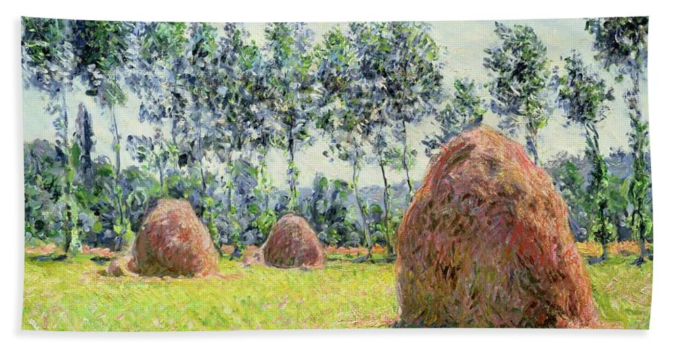 Impressionist; Landscape; Hay Rick; Field; Summer; Suzuki Collection; Meule; Meules Beach Towel featuring the painting Haystacks At Giverny by Claude Monet