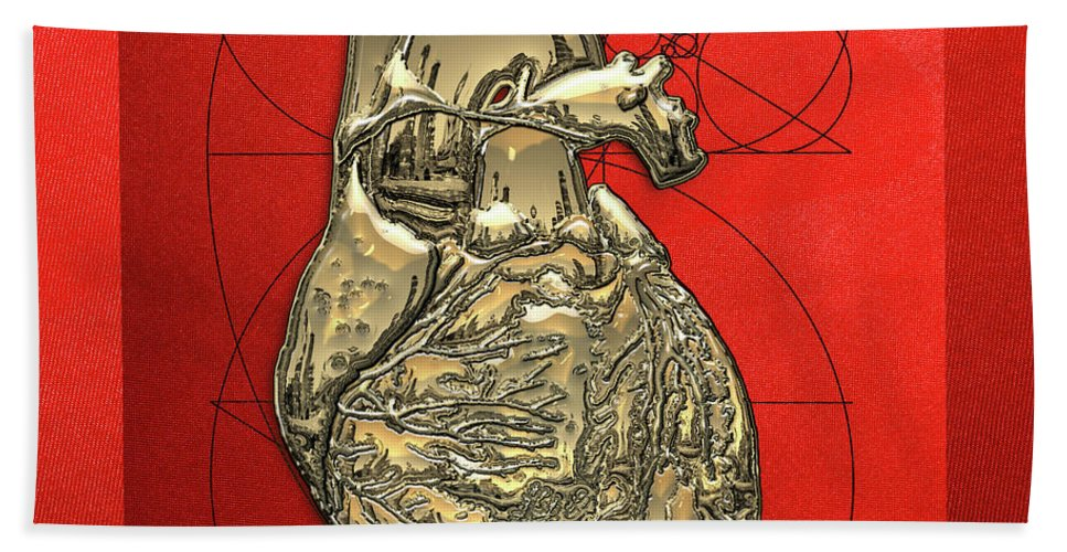 �inner Workings� Collection By Serge Averbukh Beach Towel featuring the photograph Heart Of Gold - Golden Human Heart On Red Canvas by Serge Averbukh