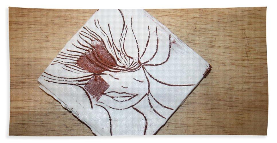 Jesus Beach Towel featuring the ceramic art Heaven - Tile by Gloria Ssali