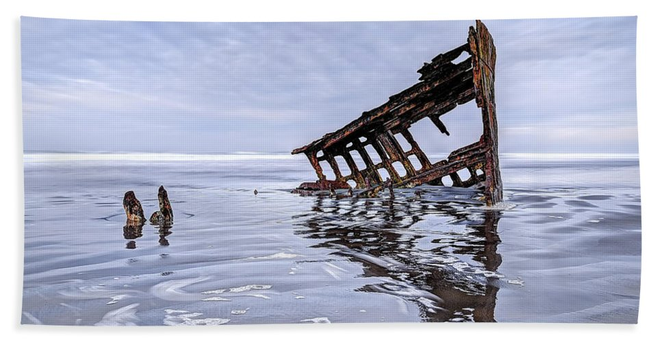 Peter Iredale Beach Towel featuring the photograph The Peter Iredale Wreck, Cannon Beach, Oregon by Kay Brewer