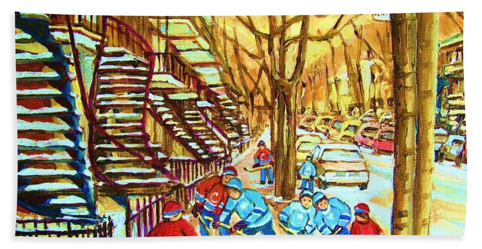 Montreal Beach Towel featuring the painting Hockey Game Near Winding Staircases by Carole Spandau