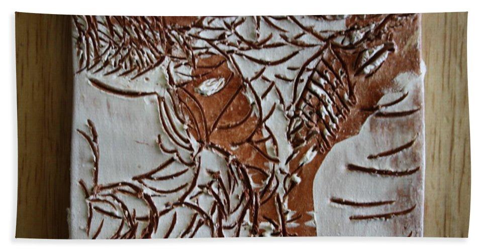 Jesus Beach Towel featuring the ceramic art Home - Tile by Gloria Ssali