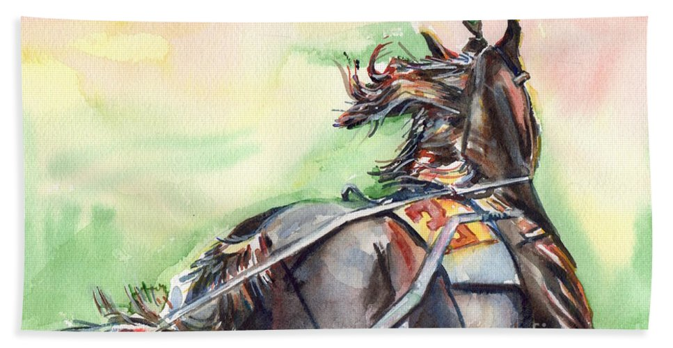 Horse Art Beach Towel featuring the painting Horse Art In Watercolor by Maria's Watercolor