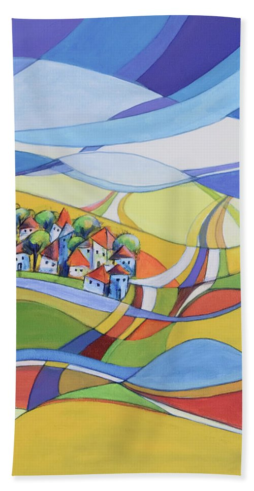 Landscape Beach Towel featuring the painting Houses along the river by Aniko Hencz