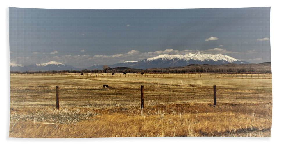 Beach Towel featuring the photograph hWY 142 leaving Manassa to San Luis by Carla Larson