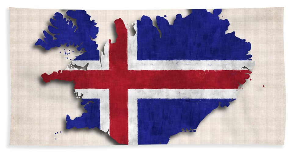 Iceland Beach Towel featuring the digital art Iceland Map Art With Flag Design by World Art Prints And Designs