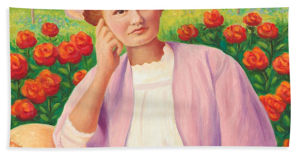 Portrait Beach Towel featuring the painting Ida In The Garden by Amy Vangsgard