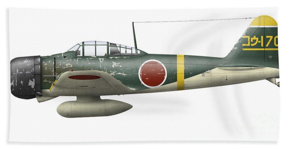 Illustration Of A Mitsubishi A6m2 Zero Beach Towel for Sale by Inkworm