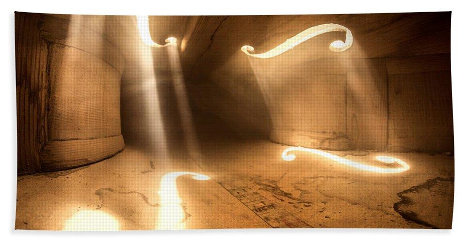 Violin Beach Towel featuring the photograph Inside Violin by Adrian Borda