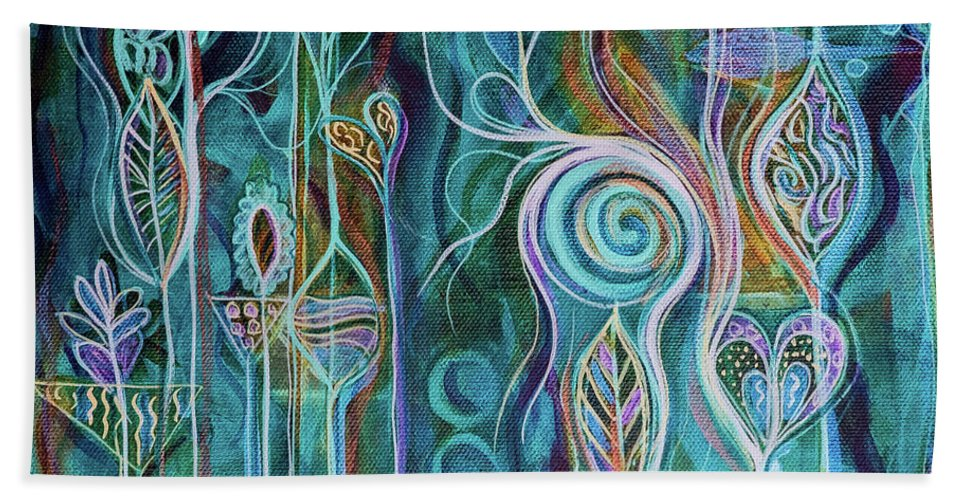Art Beach Towel featuring the painting Itty Bitty Fun by Angel Fritz