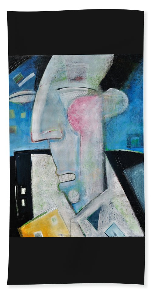 Jazz Beach Towel featuring the painting Jazz Face by Tim Nyberg