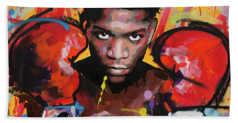 Jean Beach Towel featuring the painting Jean Michel Basquiat by Richard Day