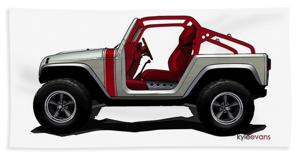 Jeep Beach Towel featuring the digital art Jeep by Lonna Egleston