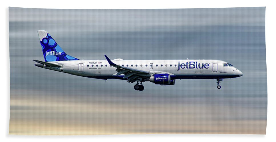Jetblue Beach Towel featuring the mixed media Jetblue Airways Embraer Erj-190ar by Smart Aviation
