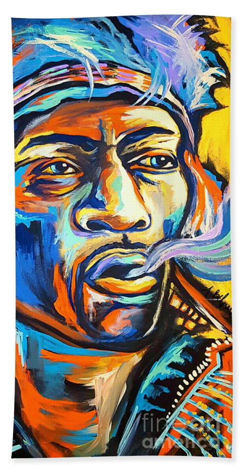 Jimi Beach Towel featuring the painting Jimi Hendrix by Amy Belonio