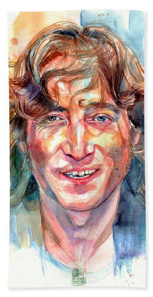 John Lennon Beach Towel featuring the painting John Lennon portrait by Suzann Sines