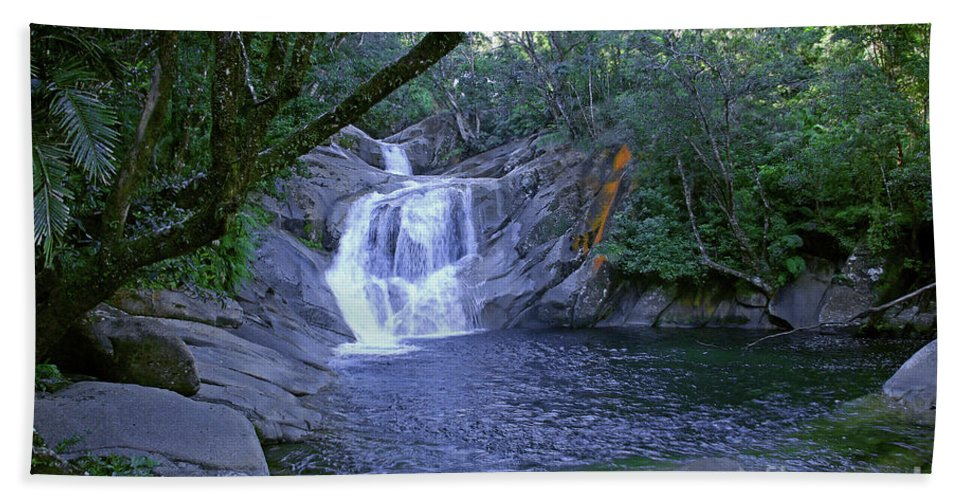 Tropical Beach Sheet featuring the photograph Josephine Falls And Tropical Pool by Kerryn Madsen- Pietsch