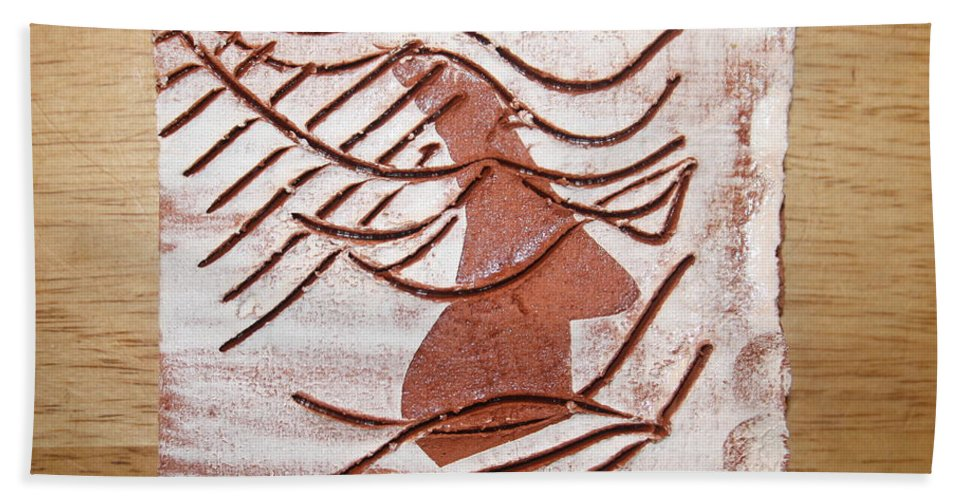 Jesus Beach Towel featuring the ceramic art Keli - Tile by Gloria Ssali