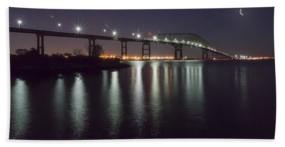 2d Beach Towel featuring the photograph Key Bridge At Night by Brian Wallace