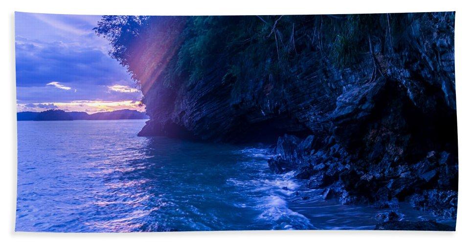 Andaman Sea Beach Towel featuring the photograph Krabi Sunset by Jijo George