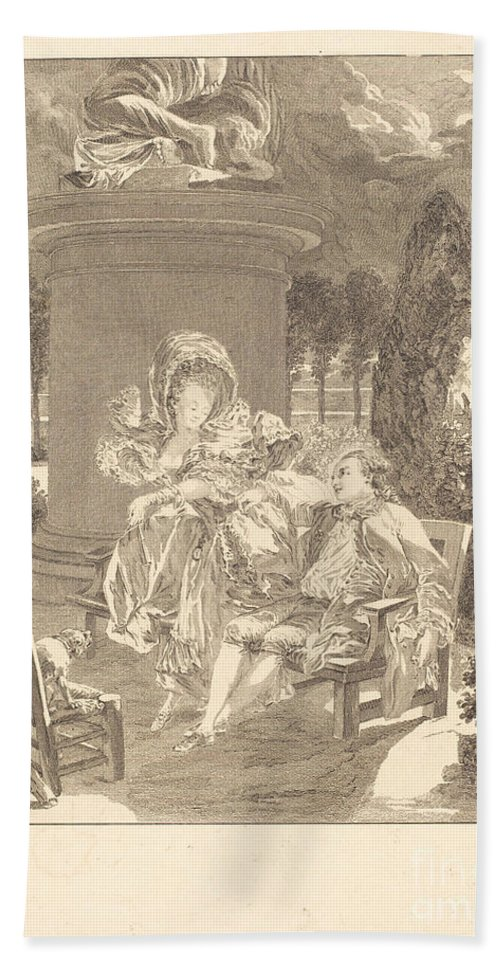 Beach Towel featuring the drawing La Soiree Des Thuileries by Jean-baptiste Blaise Simonet After Pierre-antoine Baudouin