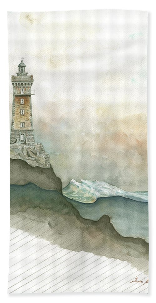La Vieille Lighthouse Beach Towel featuring the painting La Vieille Lighthouse by Juan Bosco