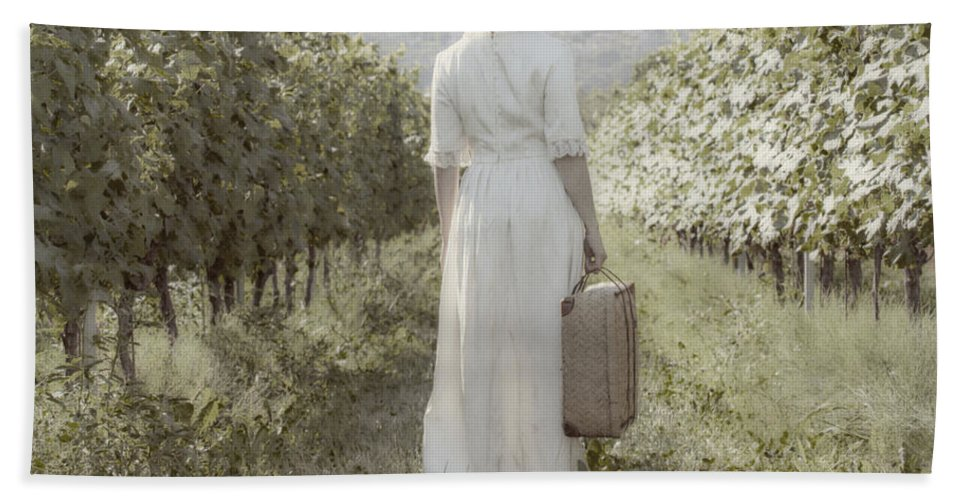 Female Beach Towel featuring the photograph Lady In Vineyard by Joana Kruse