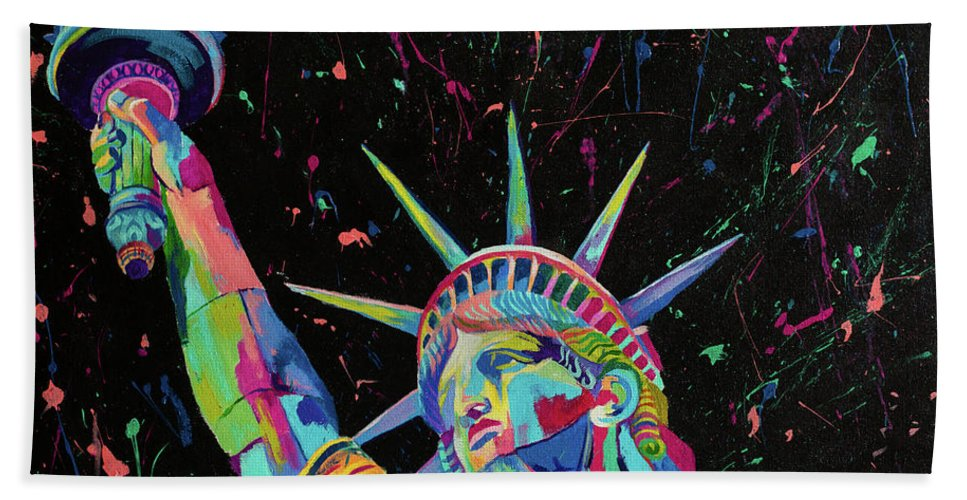 Beach Towel featuring the painting Lady Liberty by Janice Westfall