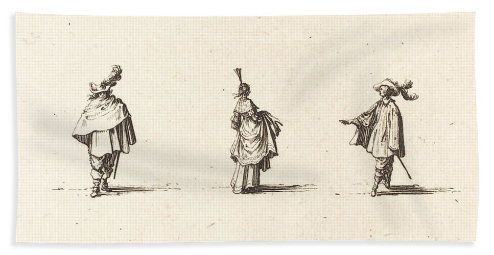 Beach Towel featuring the drawing Lady With Dress Gathered Up, And Two Gentlemen by Jacques Callot