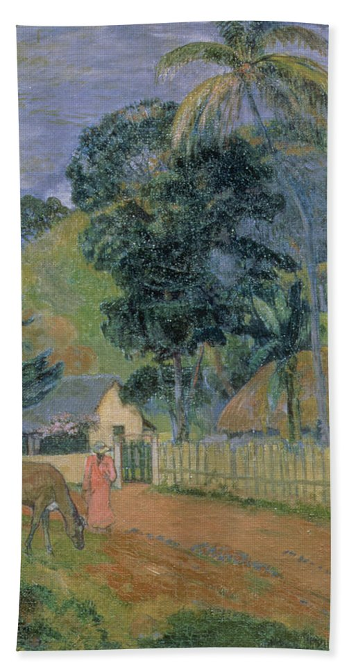 Landscape Beach Towel featuring the painting Landscape by Paul Gauguin