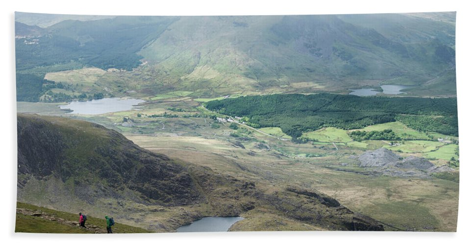 Snowdon Beach Towel featuring the photograph Landscape View Of Llyn Cwellyn And Moel Cynghorion In Snowdonia by Matthew Gibson