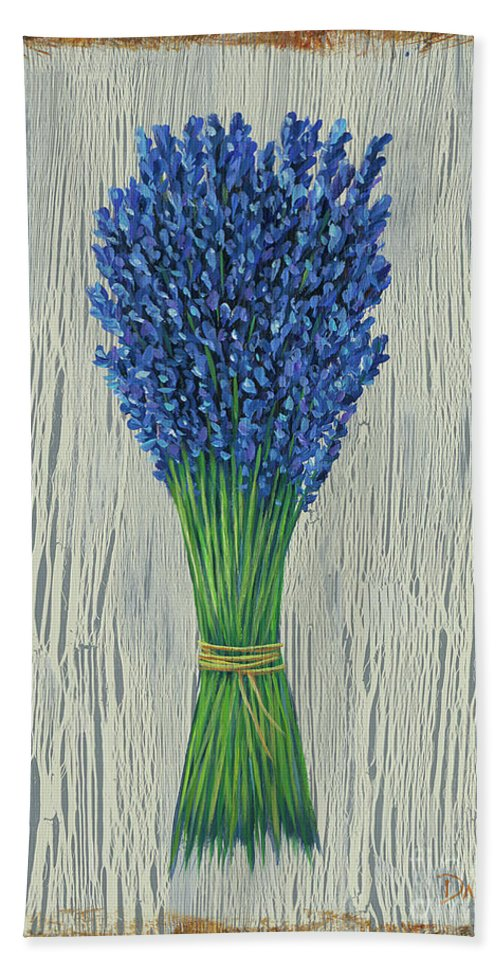 Lavender Beach Towel featuring the painting Lavender by Danielle Perry