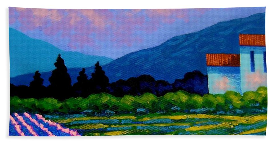 Landscape Beach Towel featuring the painting Lavender Field France by John Nolan