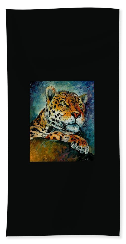 Animal Beach Sheet featuring the painting Leopard by Leonid Afremov