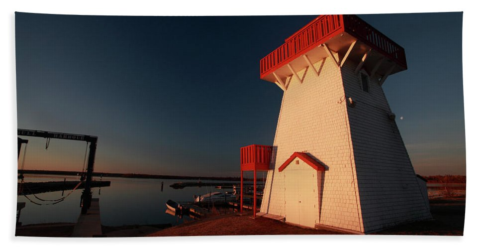 Lighthouse Beach Towel featuring the digital art Lighthouse And Marina At Hecla In Manitoba by Mark Duffy