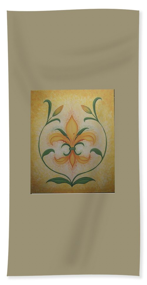 Lilly Beach Towel featuring the painting Lily Flower by Valerie Carpenter
