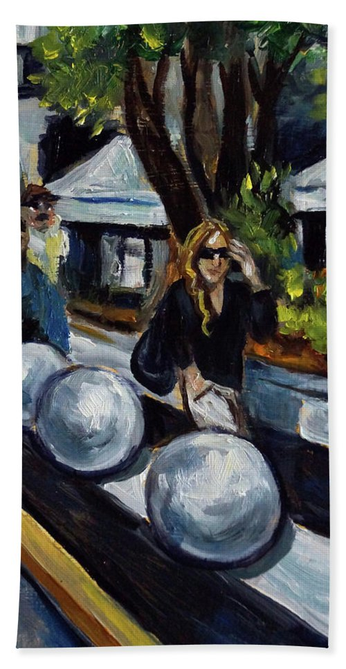 Sobe Beach Towel featuring the painting Lincoln Road by Valerie Vescovi