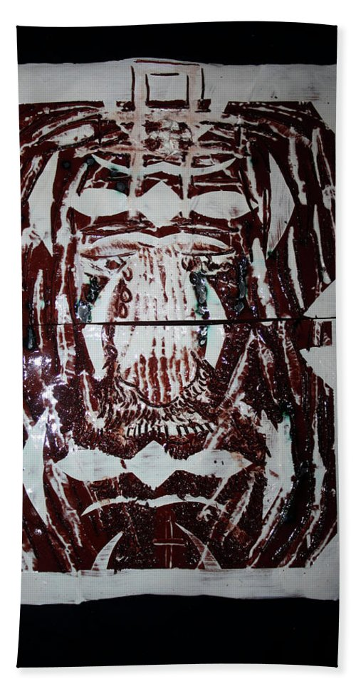 Plaquesmamamama Africa Twojesus Beach Towel featuring the ceramic art Lion Of Judah by Gloria Ssali