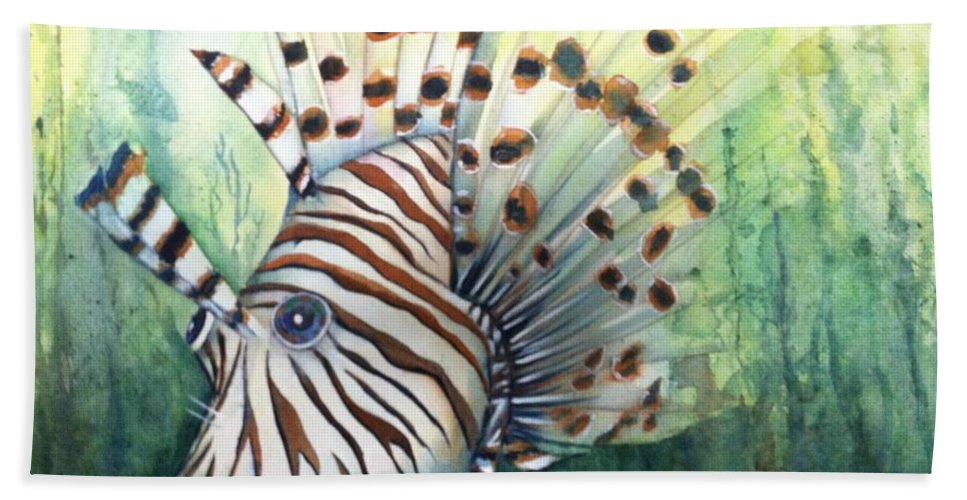 Lionfish Beach Towel featuring the painting Lionfish by Midge Pippel