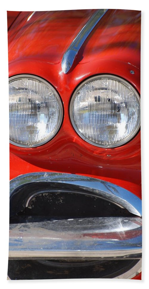 Corvette Beach Sheet featuring the photograph Little Red Corvette by Rob Hans