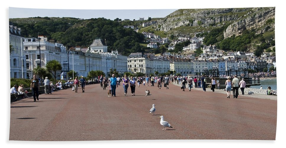 Aqua Beach Towel featuring the photograph Llandudno Beach by Svetlana Sewell