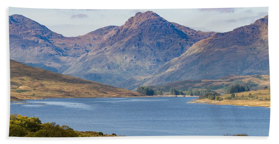 Loch Arklet Beach Towel featuring the photograph Loch Arklet And The Arrochar Alps by Gary Eason