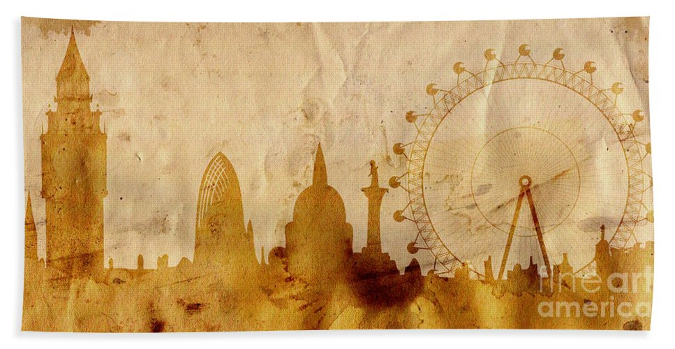 London Beach Towel featuring the mixed media London by Michal Boubin