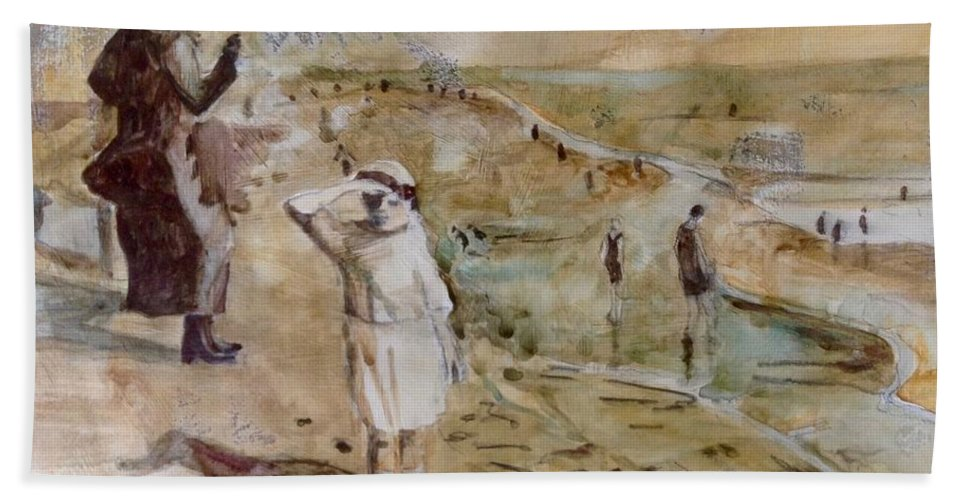 Memorabilia Beach Sheet featuring the painting Love Ted, Seal Beach 1921 by Diane Renchler